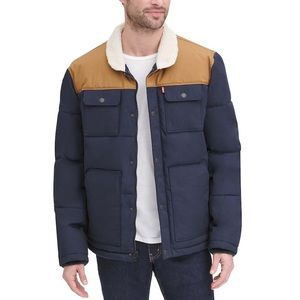 Levi's Woodsman Sherpa Collar Quilted Puffer Coat